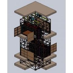 Комплекс из 4-х попарно скомпонованных грузовых подъемников CMInd-К2-2000-3100х1450х2000 общей грузоподъемностью 8 000 кг.
